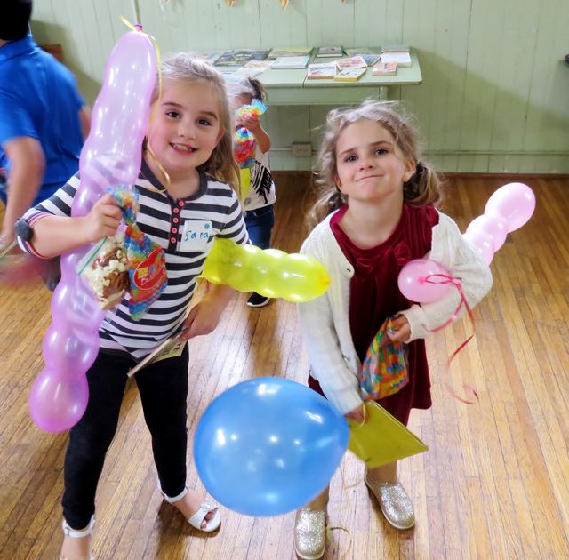 Balloons and sisters!
